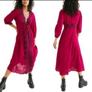 NWT Free People V Neck Embroidered Maxi Dress L